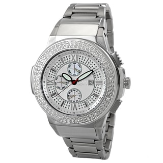 JBW Men's 'Saxon' Silvertone Crystal Analog Watch