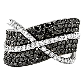 Beverly Hills Charm 10k Gold 1-1/2ct TDW Crossover Black and White Diamond Ring (H-I, I2-I3)