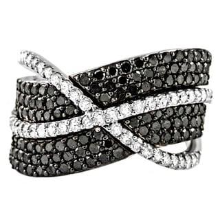 Beverly Hills Charm 10k Gold 1-1/2ct TDW Black and White Diamond Crossover Ring (H-I, I2-I3)