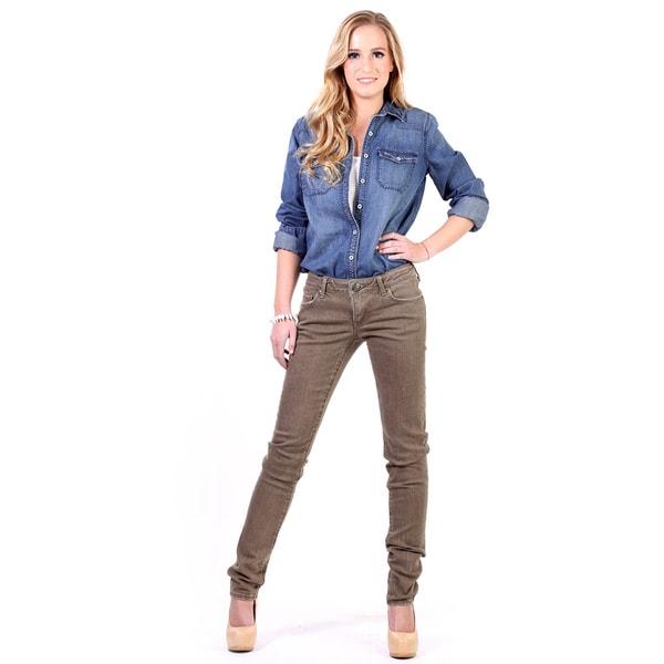 Stitch's Women's FOX Denim Worn-out Straight Slim Jeans