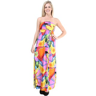 24/7 Comfort Apparel Women's Vibrant Abstract Print Sleeveless Tube Maxi Dress