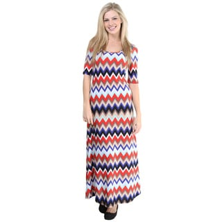 24/7 Comfort Apparel Women's Multicolored Chevron Print Elbow-sleeve Maxi Dress
