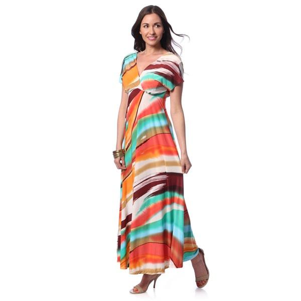 24/7 Comfort Apparel Women's Multicolor Print Flutter Sleeve Maxi Dress