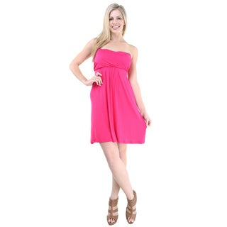 24/7 Comfort Apparel Women's Pink Sleeveless Tube Dress