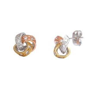 Sterling Essentials Tri-Color Silver Cubic Zirconia Love Knot Stud Earrings