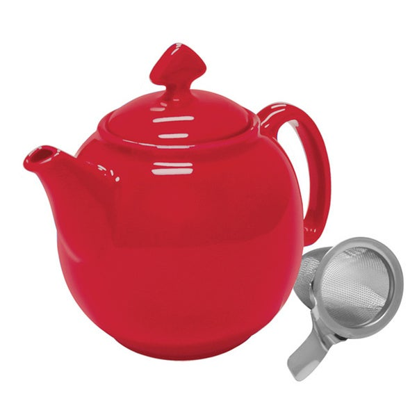 Chantal true red 1 1 2 quart teapot with stainless steel infuser 16129518 - Chantal teapots ...