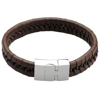 Men's Stainless Steel Brown Leather Bangle Bracelet