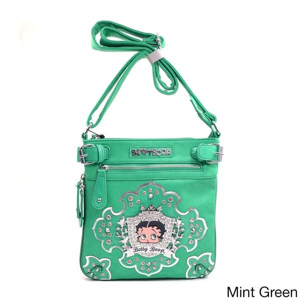 Betty Boop Rhinestone Crest Messenger Bag