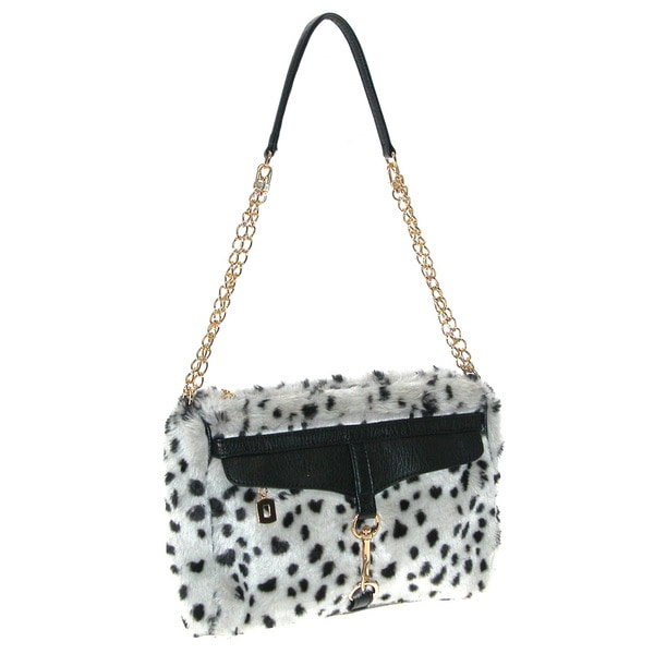 Adrienne Landau Snow Leopard Shoulder Bag