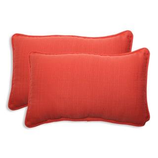 Pillow Perfect Outdoor Coral Rectangular Throw Pillow (Set of 2)