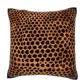 Brown Snakeskin Leather 18-inch Velour Throw Pillow