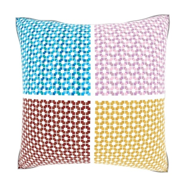 Retro Multicolored Squared Repeat Print 18-inch Velour Throw Pillow