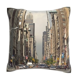 New York City Street View 18-inch Velour Throw Pillow