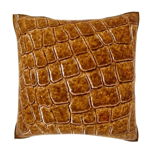 Velour Throw Pillows : Artificial Crocodile Skin Texture 18-inch Velour Throw Pillow - Overstock Shopping - Great ...