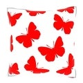 Seamless Red Butterfly Pattern 18-inch Velour Throw Pillow