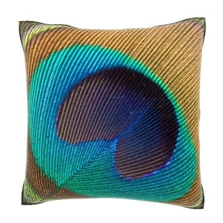 Peacock Feather Close Up 18-inch Velour Throw Pillow