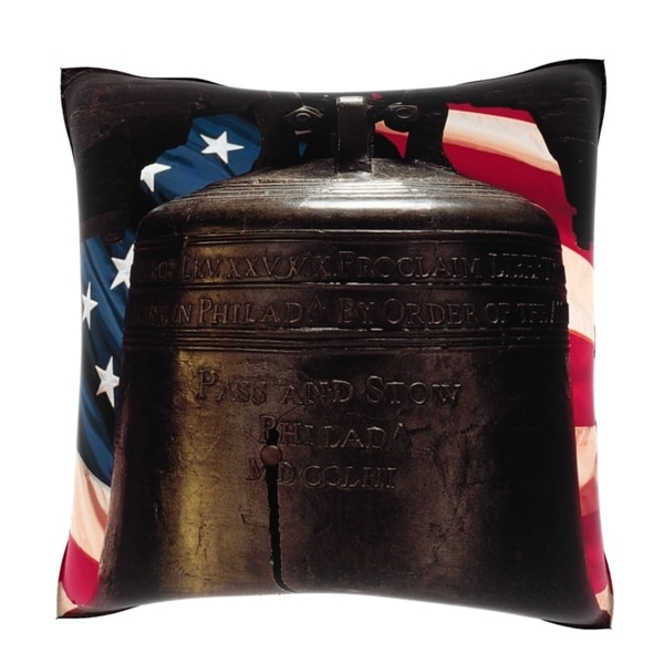Liberty Bell With American Flag 18-inch Velour Throw Pillow