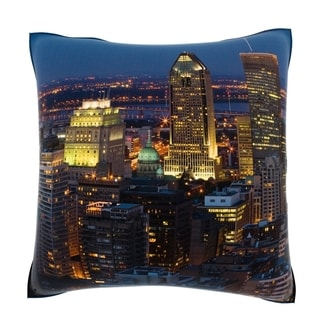 Montreal Skyline At Night 18-inch Velour Throw Pillow