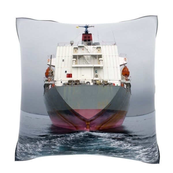 Stern Of Grey And Pink Cargo Ship 18-inch Velour Throw Pillow