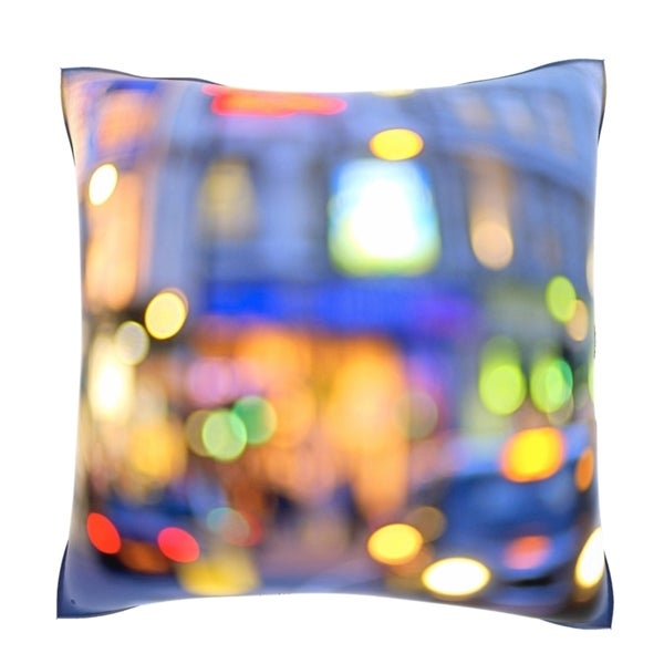 Out Of Focus Shaftsbury Avenue, London, England 18-inch Velour Throw Pillow