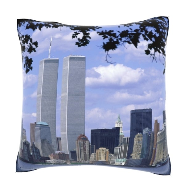 Twin Towers Of New York City 18-inch Velour Throw Pillow