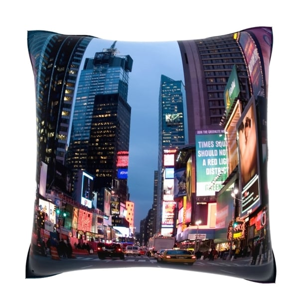 Times Square In New York City At Dusk 18-inch Velour Throw Pillow