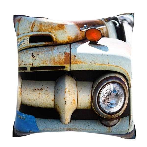 Rusty Car Parked On Street 18-inch Velour Throw Pillow