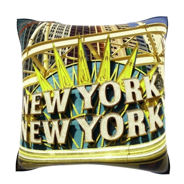 Marquee for New York City in Las Vegas 18-inch Velour Throw Pillow
