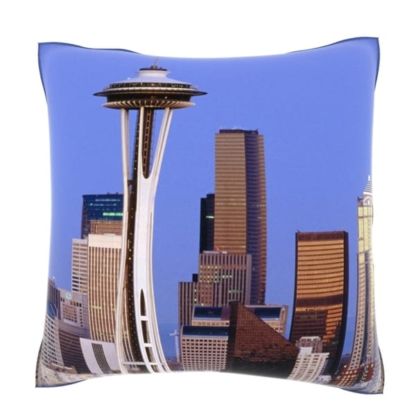 Space Needle in Seattle, Washington 18-inch Velour Throw Pillow