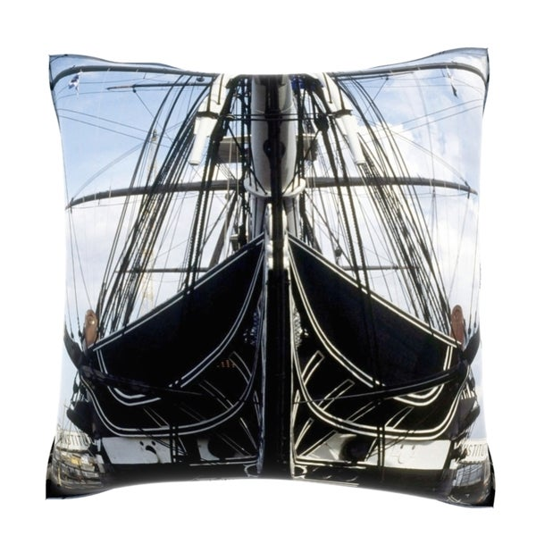 US Military Ship at Harbor 18-inch Velour Throw Pillow