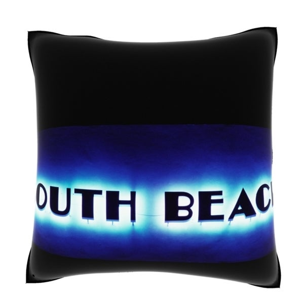 South Beach Neon Sign 18-inch Velour Throw Pillow