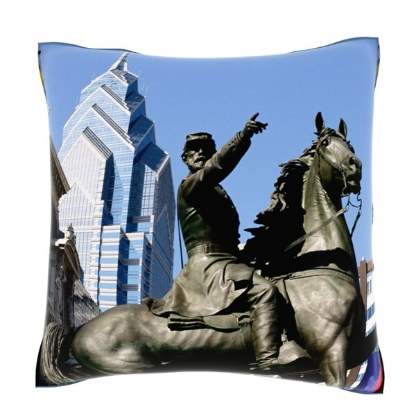 Statue of Gettysburg soldier, Philadelphia City Hall 18-inch Velour Throw Pillow