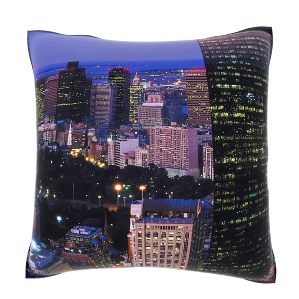 Aerial Cityscape Lights 18-inch Velour Throw Pillow