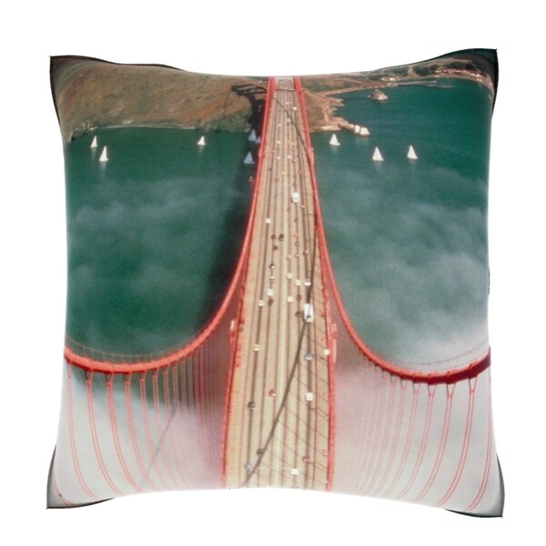 Mist Under Golden Gate Bridge 18-inch Velour Throw Pillow