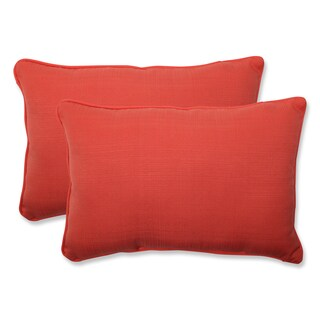 Pillow Perfect Outdoor Coral Over-sized Rectangular Throw Pillow (Set of 2)