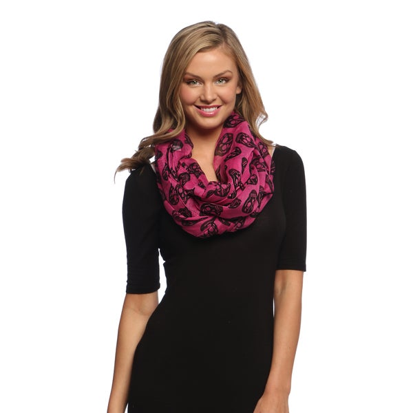 Pink and Black Skull Print Infinity Loop Scarf