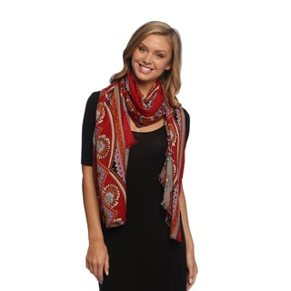 Multicolored Paisley Damask Silky Scarf Wrap