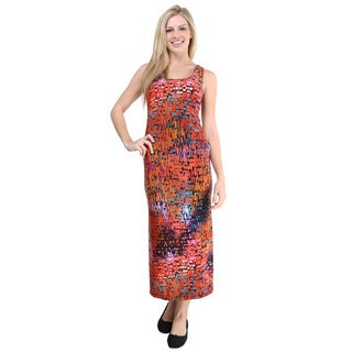 24/7 Comfort Apparel Women's Multicolored Print Sleeveless Maxi Dress