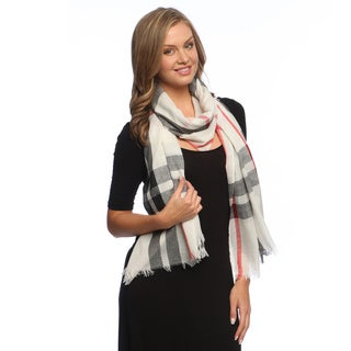 White Checkerboard Plaid Scarf/ Shawl