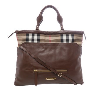 Burberry House Check Leather Big Crush Tote