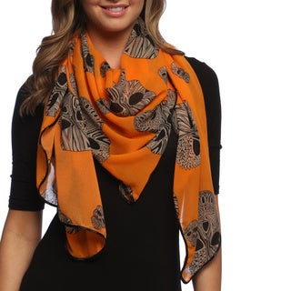 Orange Aztec Skull Print Chiffon Fashion Scarf