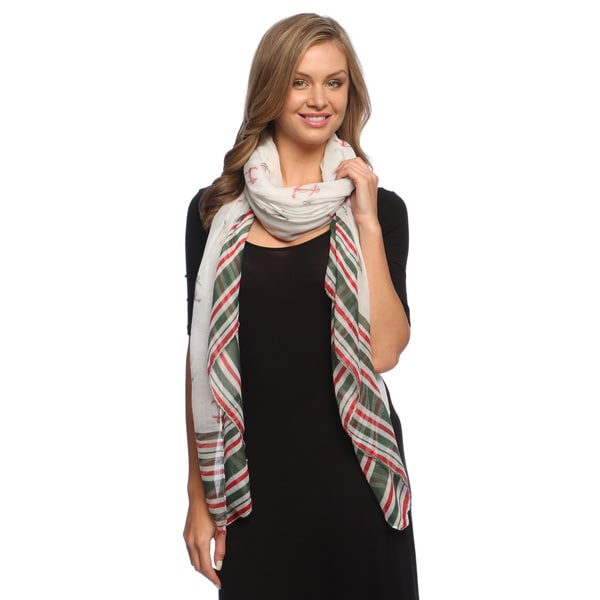 Navy-inspired Stripe Border Chiffon Scarf
