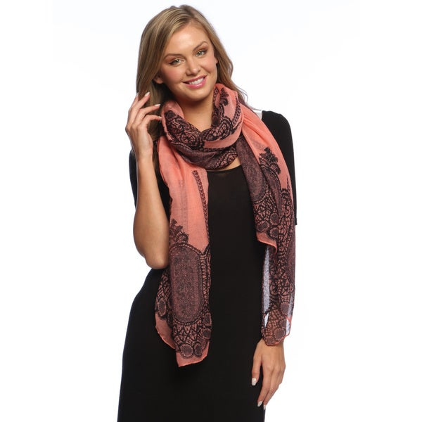 Coral Damask Vanity Lace Print Lightweight Shawl