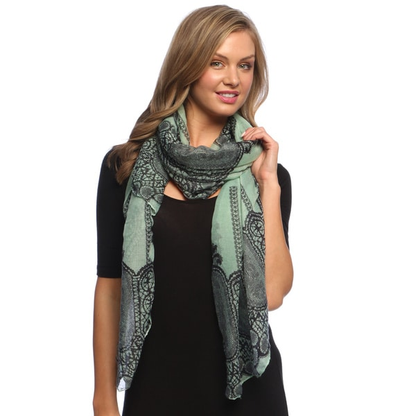 Teal Damask Vanity Lace Print Lightweight Shawl