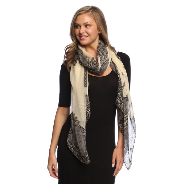 Tan Damask Lace Print Lightweight Shawl Wrap