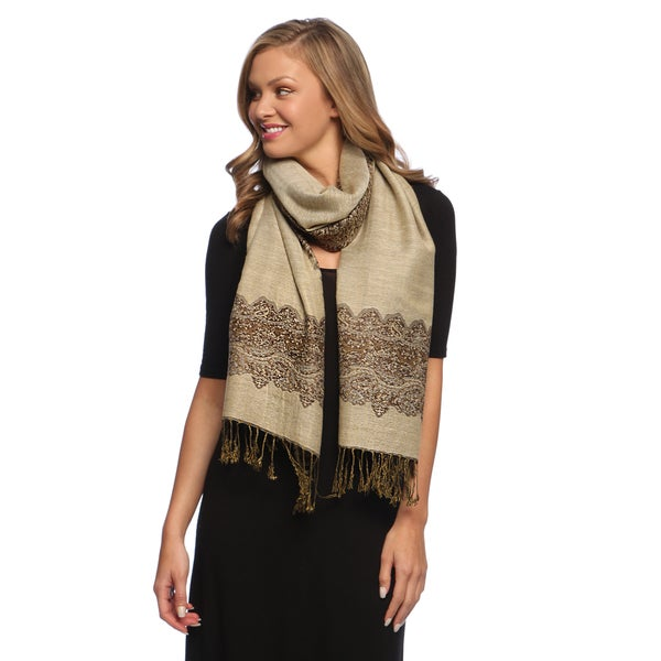 Chocolate/ Tan Reversible Braided Fringe Shawl Wrap