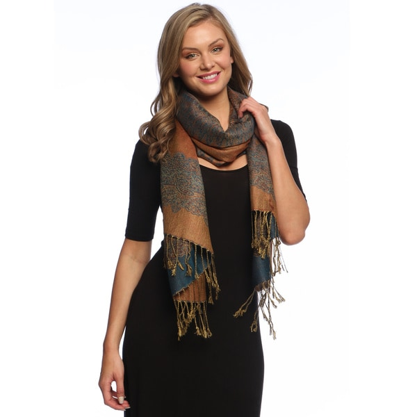 Dark Blue/ Gold Reversible Braided Fringe Shawl Wrap