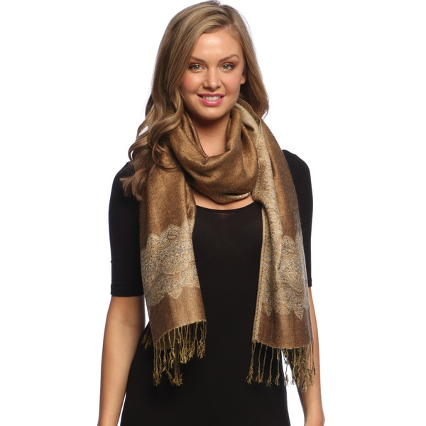 Khaki/ Gold Reversible Braided Fringe Shawl Wrap