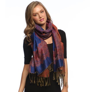 Violet and Orange Reversible Braided Fringe Shawl Wrap