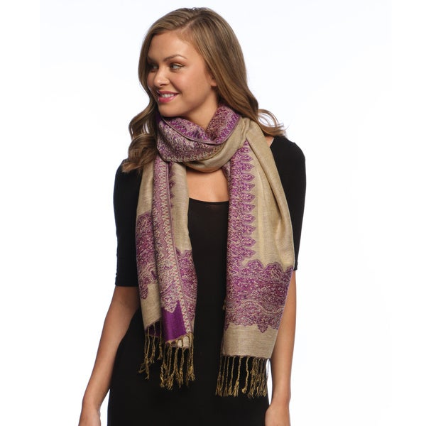 Purple/ Gold Reversible Braided Fringe Shawl Wrap